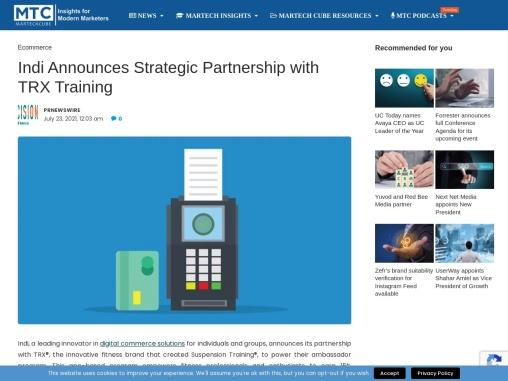 Indi Announces Strategic Partnership with TRX Training