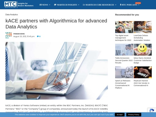 kACE partners with Algorithmica for advanced Data Analytics