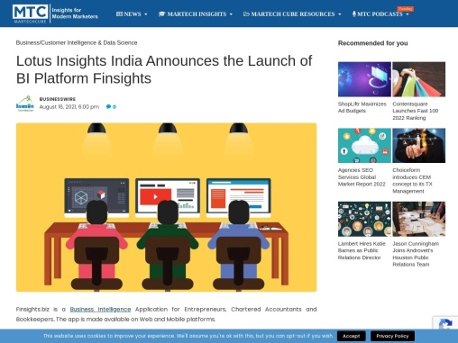 Lotus Insights India Announces the Launch of BI Platform Finsights