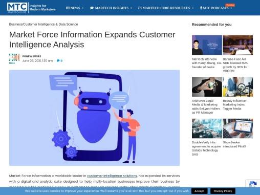 Market Force Information Expands Customer Intelligence Analysis