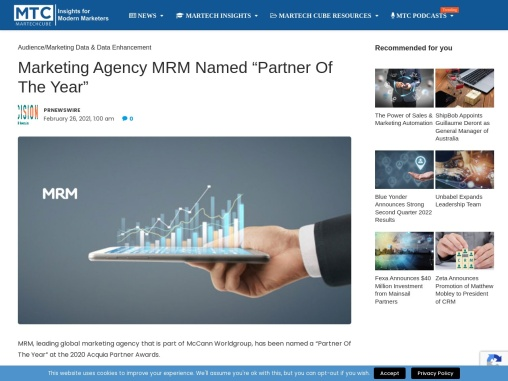 "Marketing Agency MRM Named ""Partner Of The Year"""