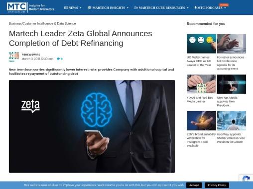 Martech Leader Zeta Global Announces Completion of Debt Refinancing