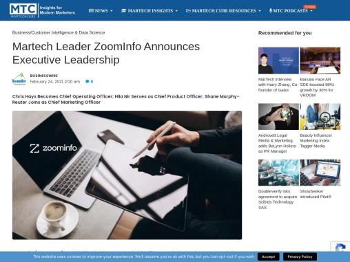 Martech Leader ZoomInfo Announces Executive Leadership