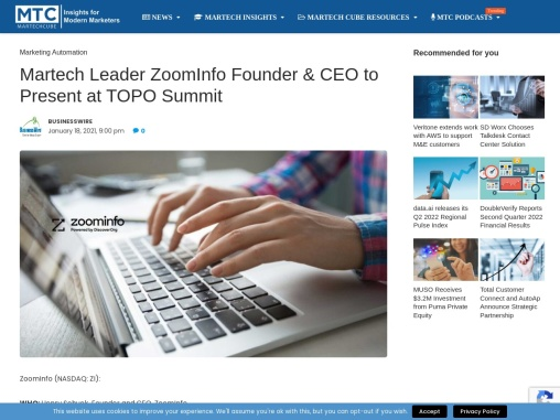 Martech Leader ZoomInfo Founder & CEO to Present at TOPO Summit