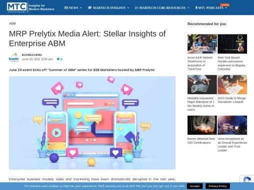 MRP Prelytix Media Alert: Stellar Insights of Enterprise ABM