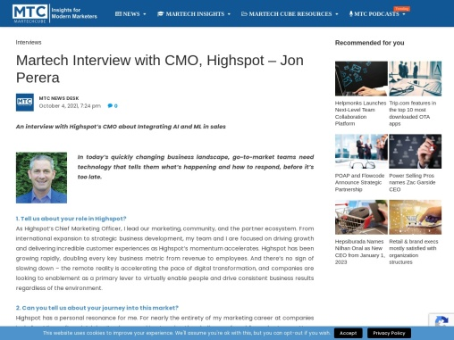 Martech Interview with the Jon Perera on AI and ML use in Sales