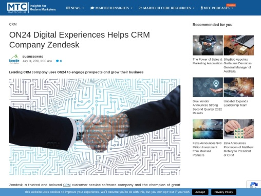 ON24 Digital Experiences Helps CRM Company Zendesk