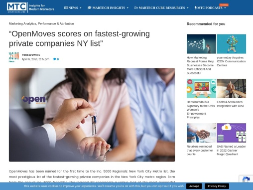 """""""OpenMoves scores on fastest-growing private companies NY list"""""""