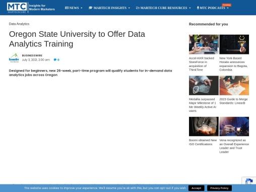 Oregon State University to Offer Data Analytics Training