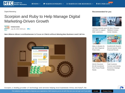 Scorpion and Ruby to Help Manage Digital Marketing-Driven Growth