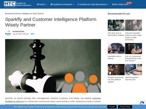 Sparkfly and Customer Intelligence Platform Wisely Partner