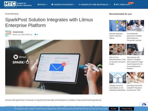 SparkPost Solution Integrates with Litmus Enterprise Platform