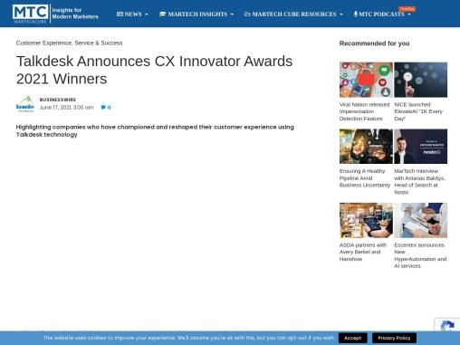 Talkdesk Announces CX Innovator Awards 2021 Winners