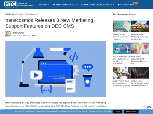 transcosmos Releases 3 New Marketing Support Features on DEC CMS