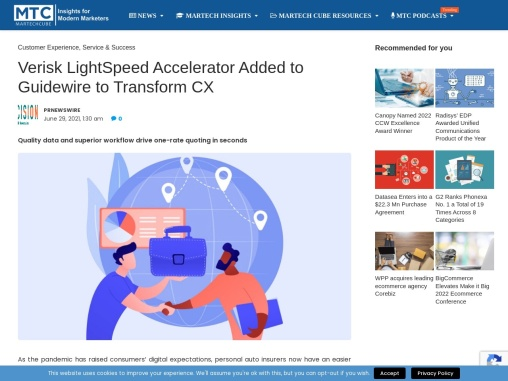 Verisk LightSpeed Accelerator Added to Guidewire to Transform CX