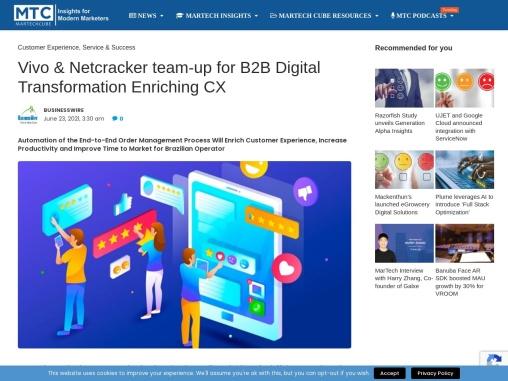 Vivo & Netcracker team-up for B2B Digital Transformation Enriching CX