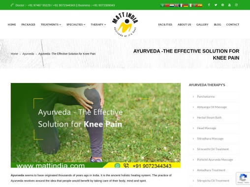 Ayurveda -The Effective Solution for Knee Pain