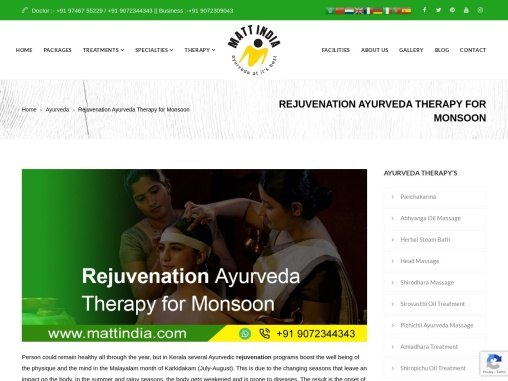 Rejuvenation Ayurveda Therapy for Monsoon