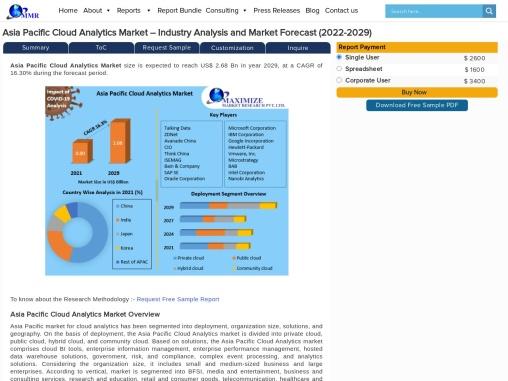Asia Pacific Cloud Analytics Market