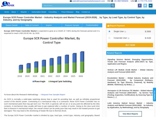 Europe SCR Power Controller Market – Industry Analysis and Market Forecast (2019-2026) _