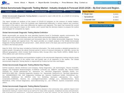 Aeromonads Diagnostic Testing Market : Industry Analysis & Forecast 2020-2026