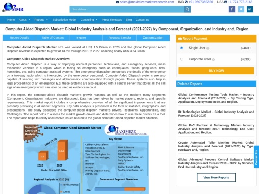 Global Computer Aided Dispatch Market – Industry Analysis and Forecast (2019-2026)