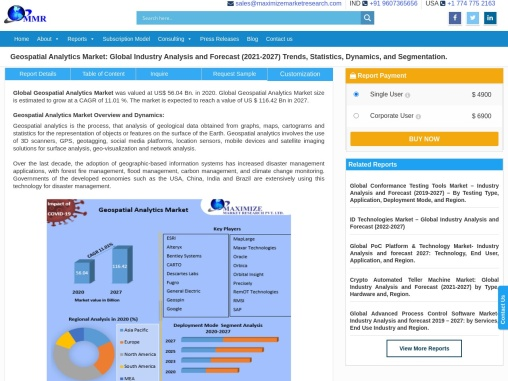 Geospatial Analytics Market – Industry Analysis and Forecast (2019-2026)