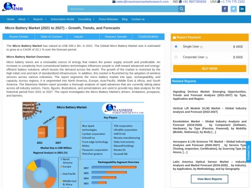 Micro Battery Market: Industry Analysis and Forecast (2019-2026)