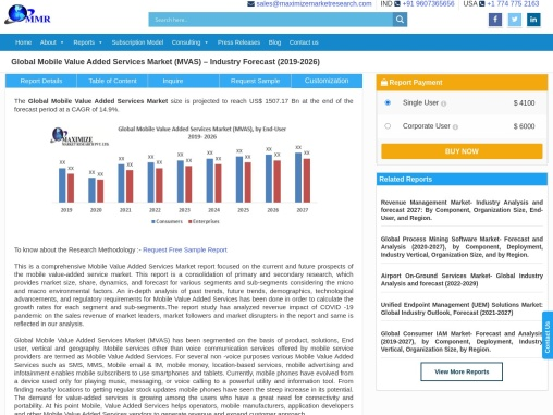Global Mobile Value Added Services Market (MVAS) : Forecast 2026