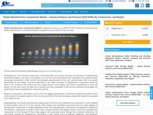 Optoelectronic Components Market – Industry Analysis and Forecast (2019-2026)