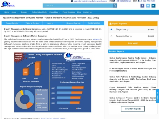 Quality Management Software Market: Industry Analysis and Forecast (2021-2027)