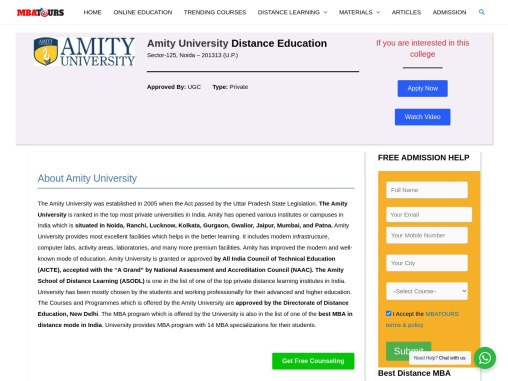 Amity University Distance Learning MBA,Online MBA Admission MBATours