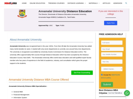 Annamalai University Distance Education MBA Admission 2021 MBATours