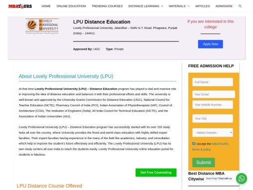 LPU Distance Education MBA| Online MBA in India | Fees | MBATours