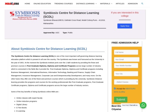Symbiosis Distance MBA Admission | Distance MBA Institute MBATours