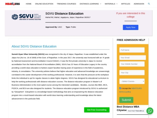 Online Distance MBA   SGVU Distance MBA Admission, Fess   MBATours