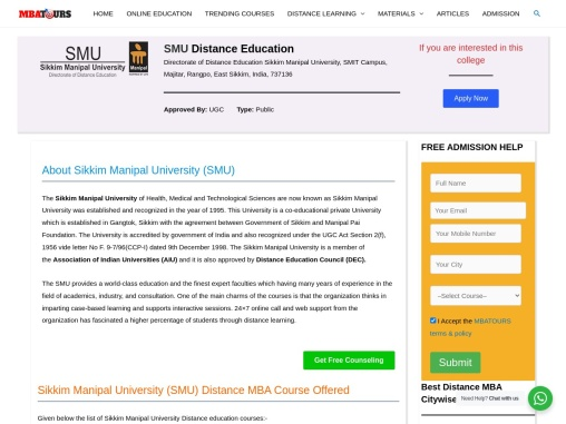 SMU MBA Admission | Sikkim Manipal University Fees, CoursesMBATours