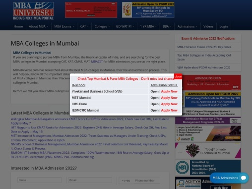 MBA Colleges In Mumbai: Fees, Cutoff, Placements, Rank