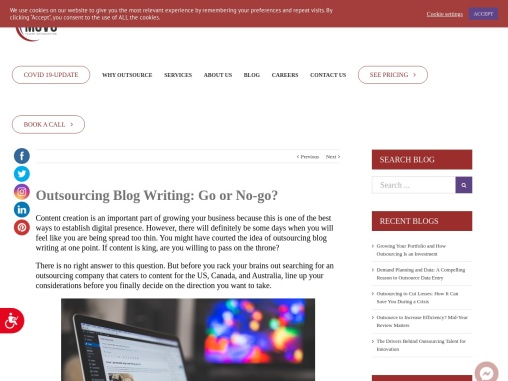 Outsourcing Blog Writing: Go or No-go? | MCVO Talent Outsourcing Services