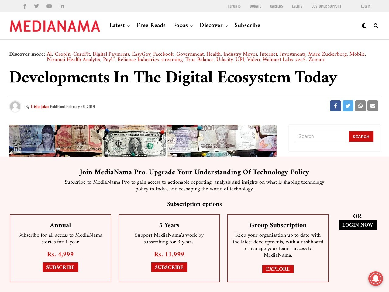 Developments in the digital ecosystem today