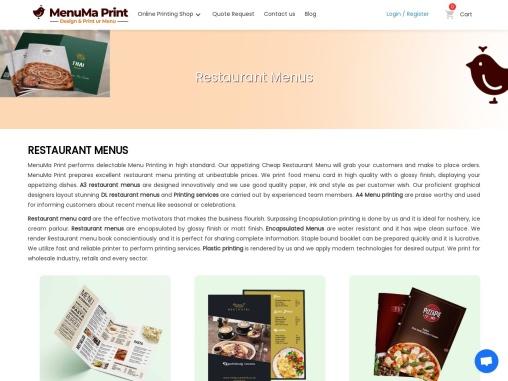 Cheap Restaurant Menu | Menu Printing | MenuMa Print