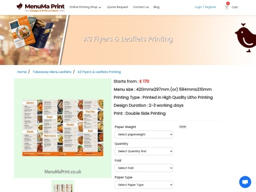 A3 Flyer & amp  Leaflet Printing  A3 Leaflet Printing UK MenuMa