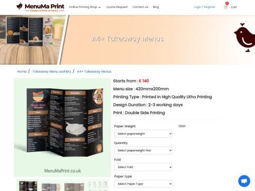 A4+ | Extended Menu | A4+ takeaway Menu | MenuMa Print