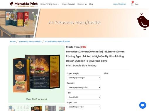 Cheap A4 Printing Takeaway Leaflets A4 Flyer MenuMa Print