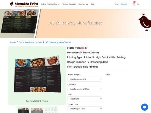 A5 Leaflet Printing Cheap A5 Flyers MenuMa Print