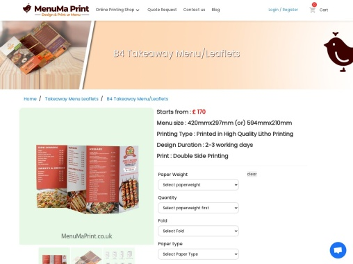 B4 Takeaway Menu   Flyer Printing   Leaflets Online – MenuMa