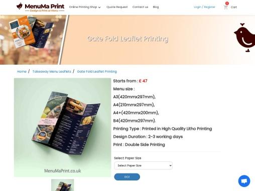 Gate Fold Leaflet Printing, Cheap Gate Fold Flyers UK MenuMa