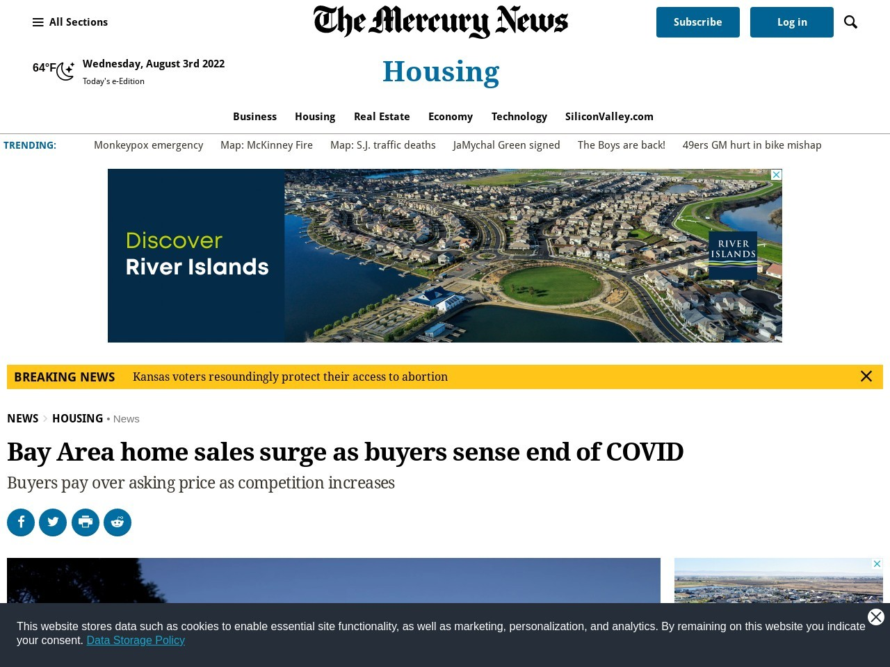 Bay Area home sales surge as buyers sense end of COVID – The Mercury News