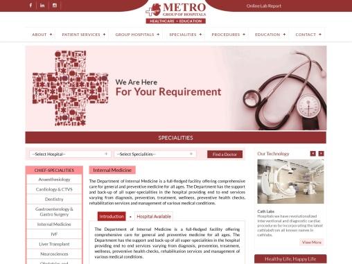 Internal Medicine Specialty Hospital in Delhi, India | Metro Group of Hospitals