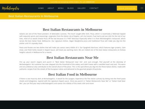 Best Italian Restaurants Near Me | michelangelos.com.au